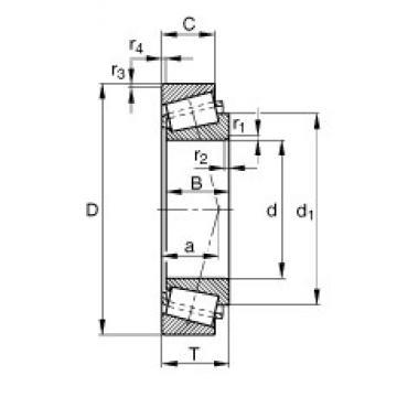41,275 mm x 95,25 mm x 29,37 mm  FAG KHM804840-HM804810 Rolamentos de rolos gravados