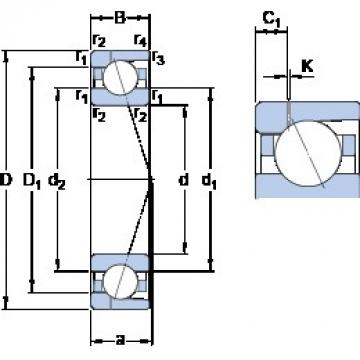 90 mm x 140 mm x 24 mm  SKF 7018 ACD/P4AH1 Rolamentos de esferas de contacto angular