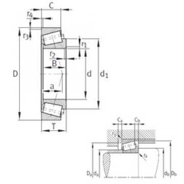45,987 mm x 74,985 mm x 18 mm  FAG KLM503349A-LM503310 Rolamentos de rolos gravados